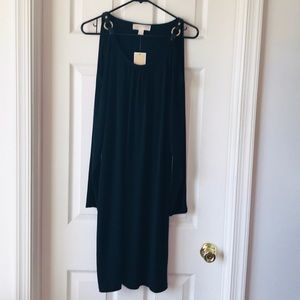 Open Shoulder With Gold and Black Strap Dress